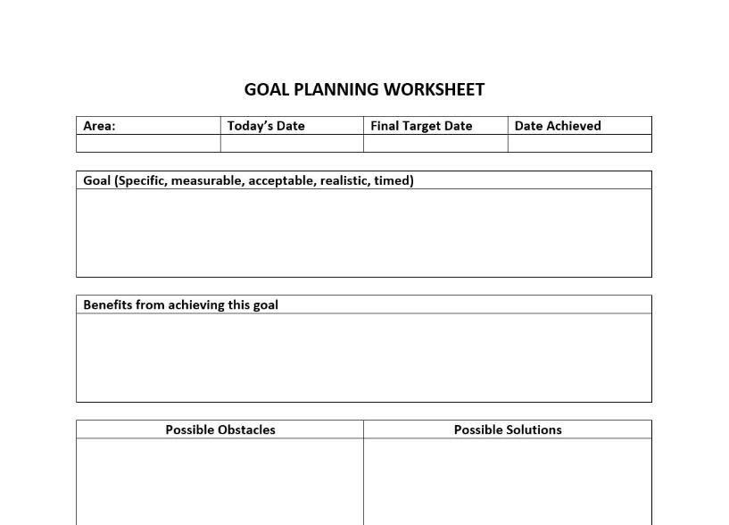 personal goals development setting worksheet employees employee performance