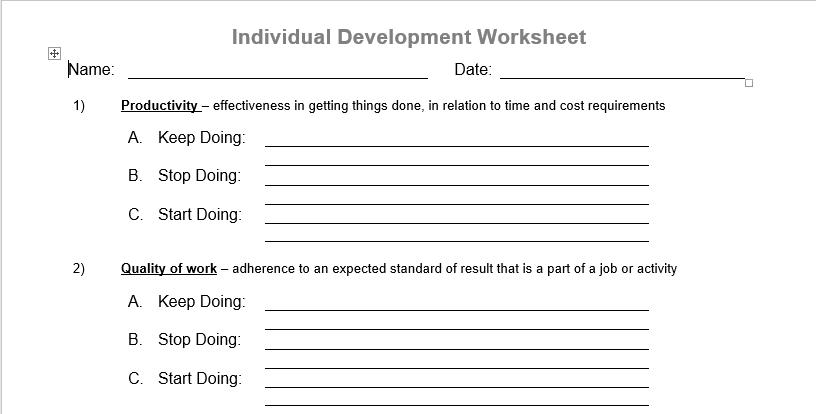 development goals personal setting individual worksheet visa ni competencies core leadership productivity binary followed command string method send quality performance