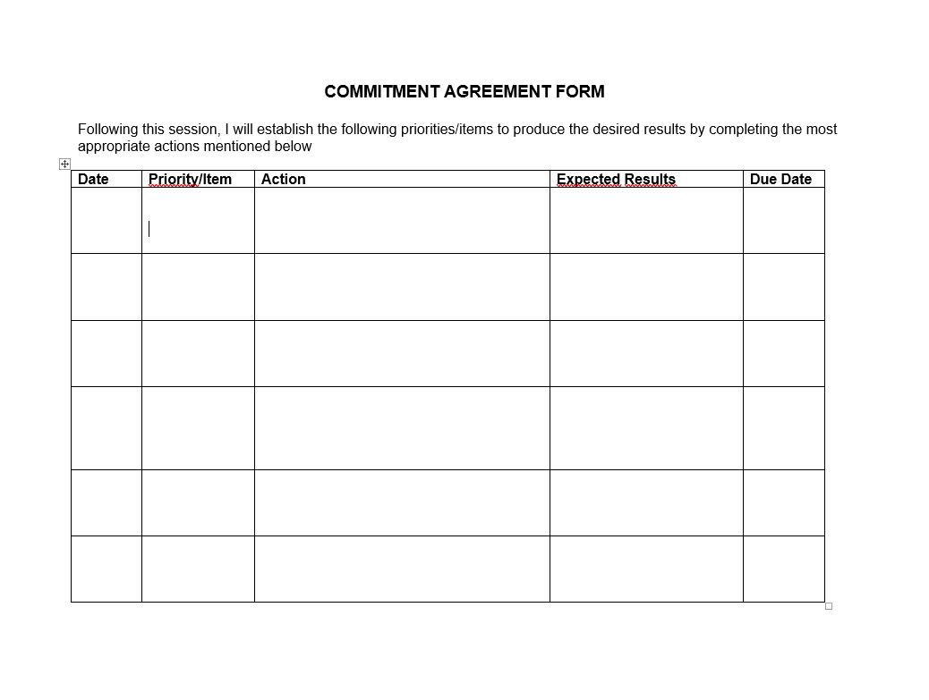 Employee Commitment Form Optimus Performance